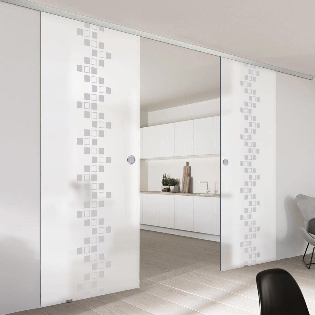Double Glass Sliding Door - Carrington 8mm Obscure Glass - Obscure Printed Design - Planeo 60 Pro Kit