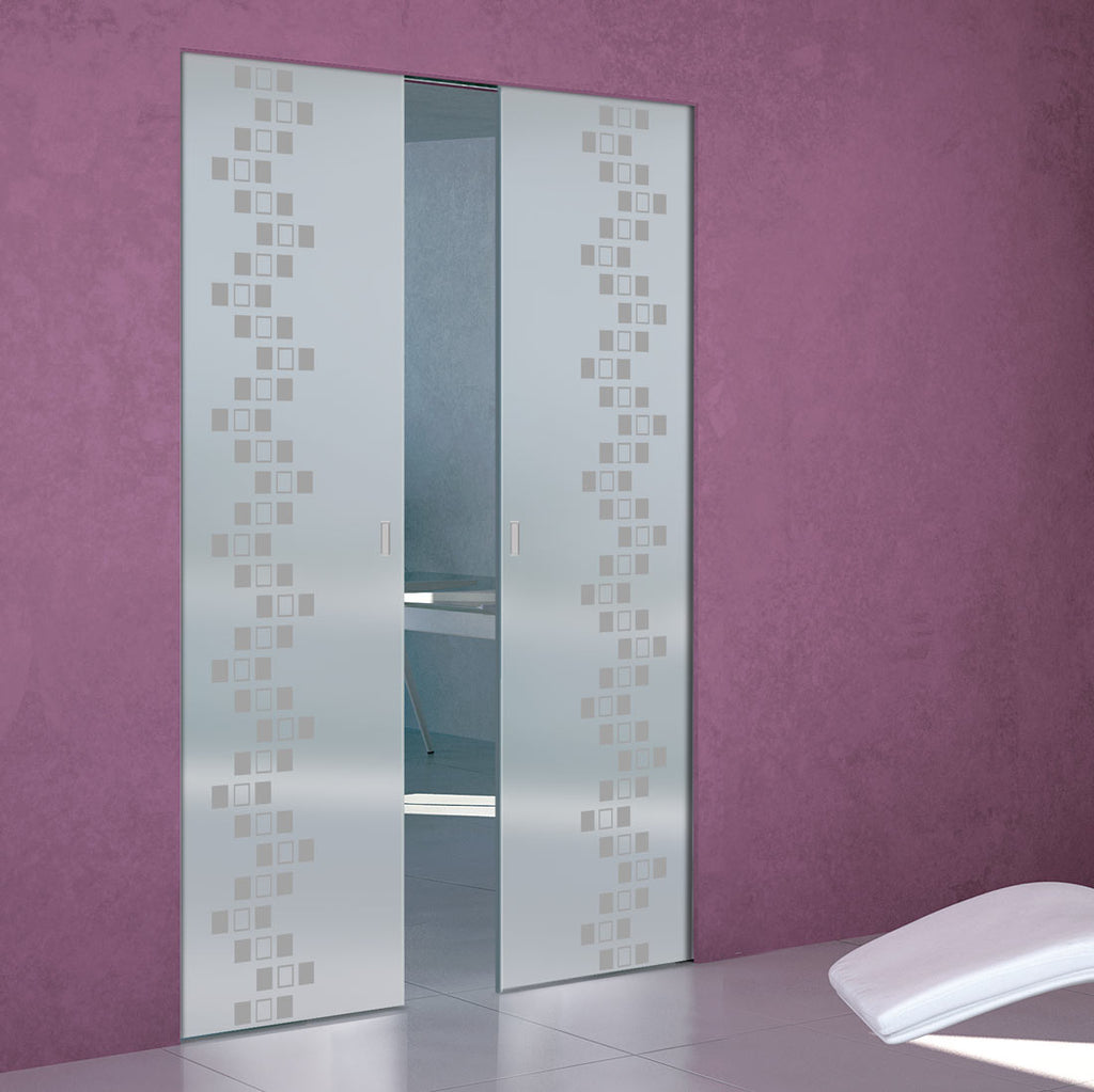 Carrington 8mm Obscure Glass - Obscure Printed Design - Double Absolute Pocket Door