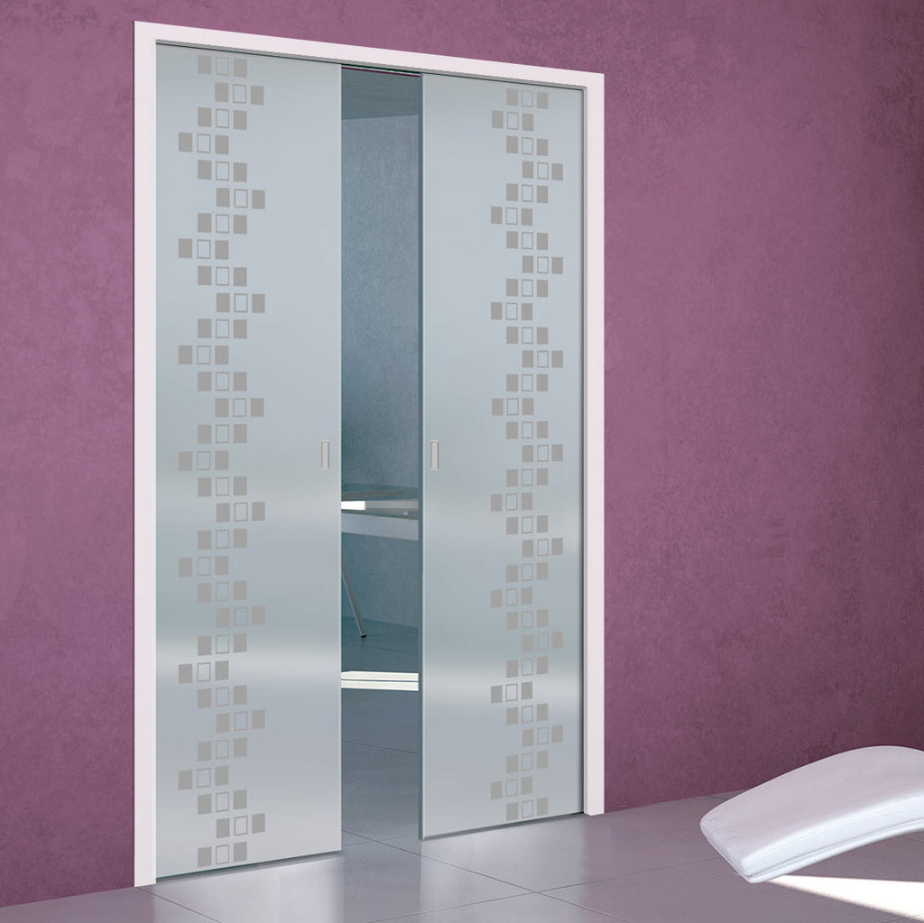 Carrington 8mm Obscure Glass - Obscure Printed Design - Double Evokit Pocket Door