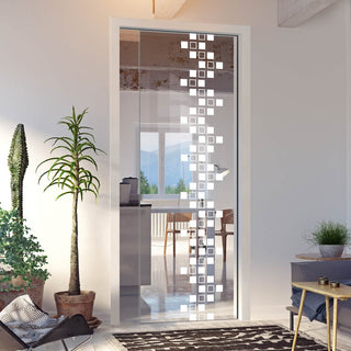 Image: Carrington 8mm Clear Glass - Obscure Printed Design - Single Evokit Glass Pocket Door