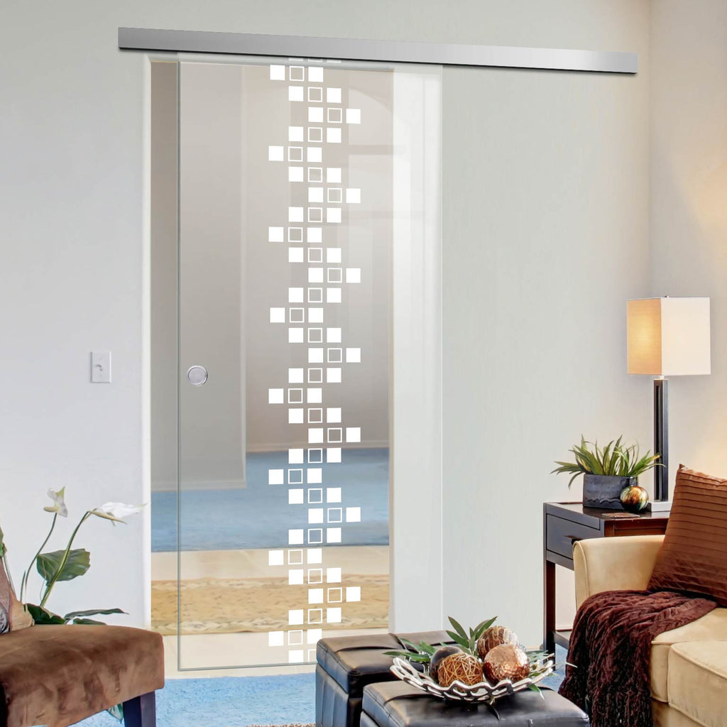 Single Glass Sliding Door - Carrington 8mm Clear Glass - Obscure Printed Design - Planeo 60 Pro Kit
