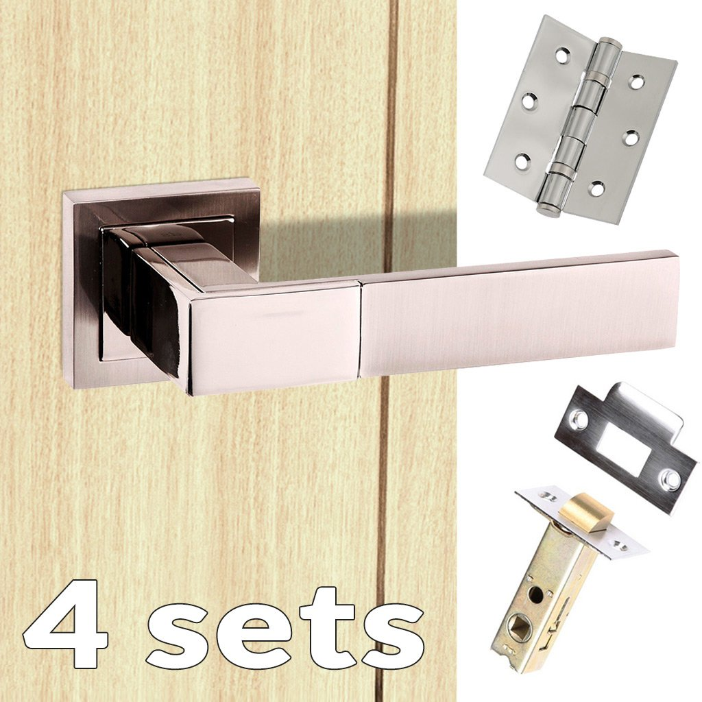 Four Pack Senza Pari Casalli Lever on Square Rose - Satin Nickel Handle