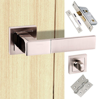Image: Senza Pari Casalli Bathroom Lever on Square Rose - Satin Nickel Handle Pack
