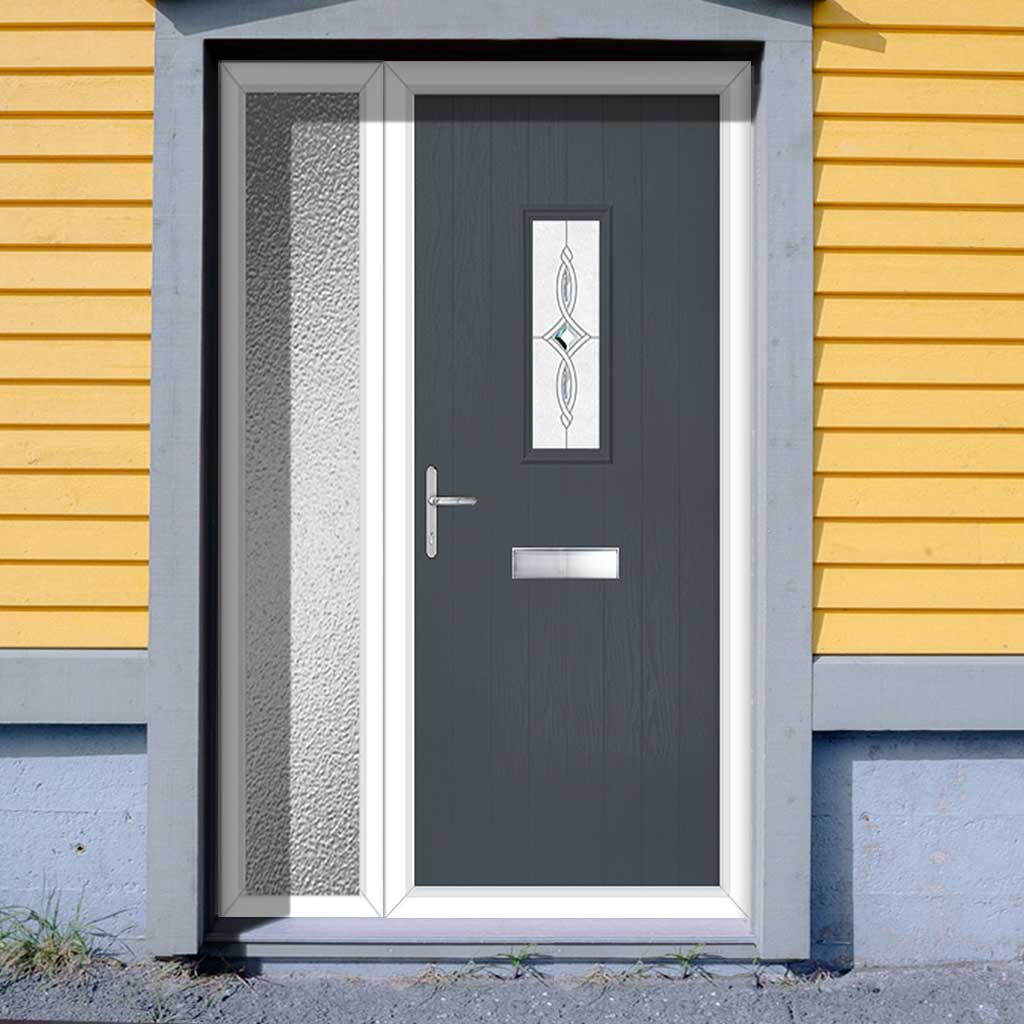 Cottage Style Catalina 1 Composite Door Set with Single Side Screen - Pusan Glass - Shown in Slate Grey