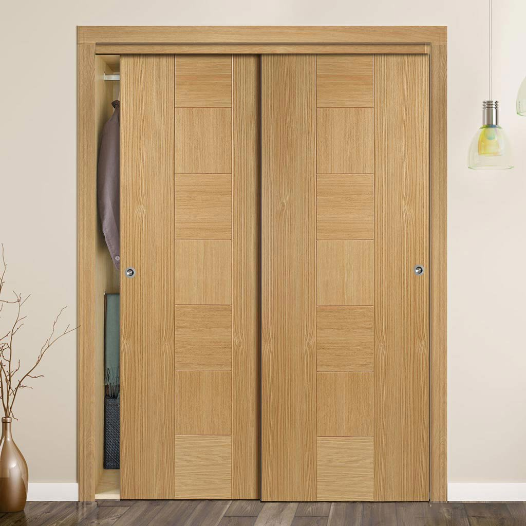 Bespoke Catalonia Flush Oak Door - 2 Door Wardrobe and Frame Kit - Prefinished