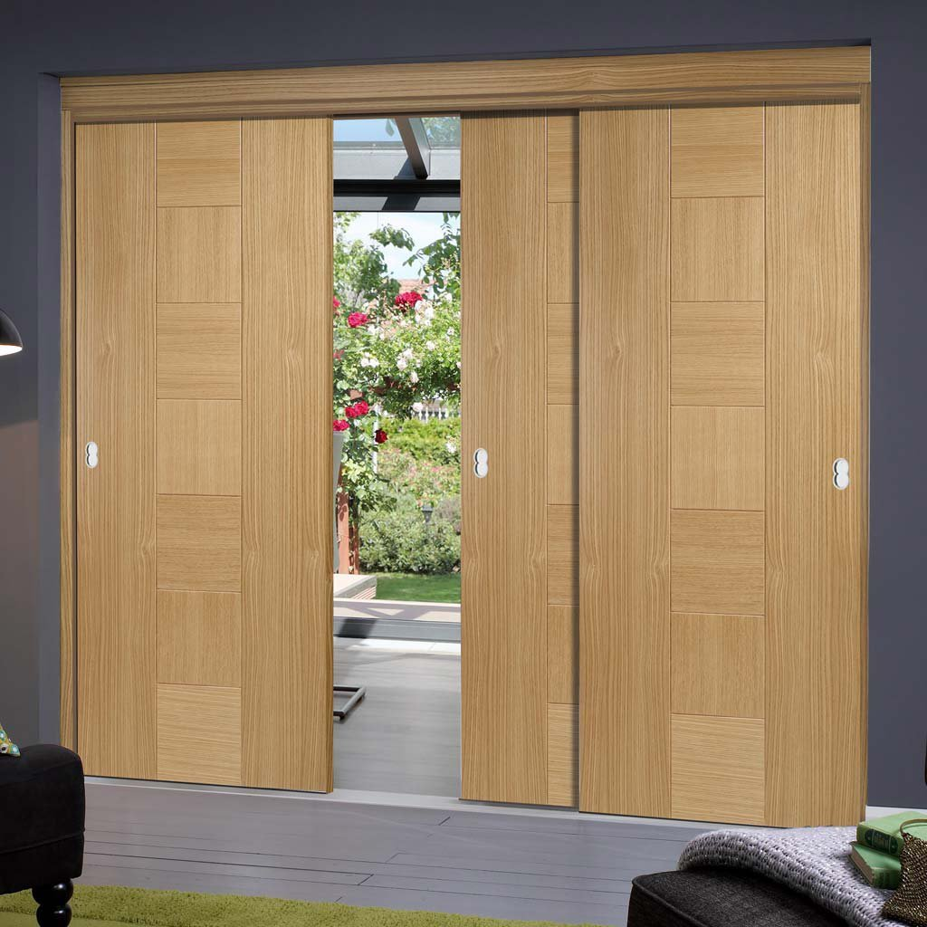 Bespoke Thruslide Catalonia Flush Oak Door - 3 Sliding Doors and Frame Kit - Prefinished