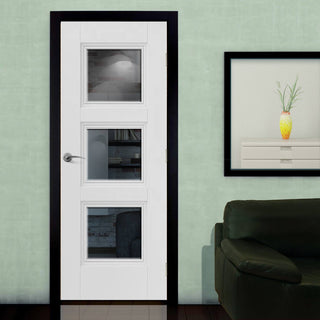 Image: J B Kind White Classic Catton Primed Door - Clear Glass