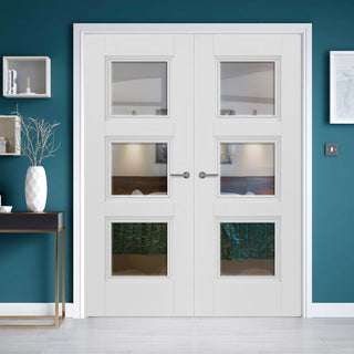 Image: J B Kind White Classic Catton Primed Door Pair - Clear Glass