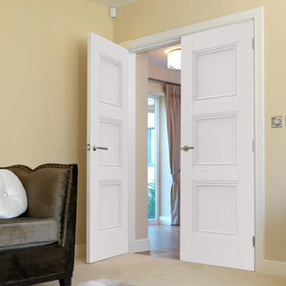 Image: J B Kind White Classic Catton Panel Primed Door Pair