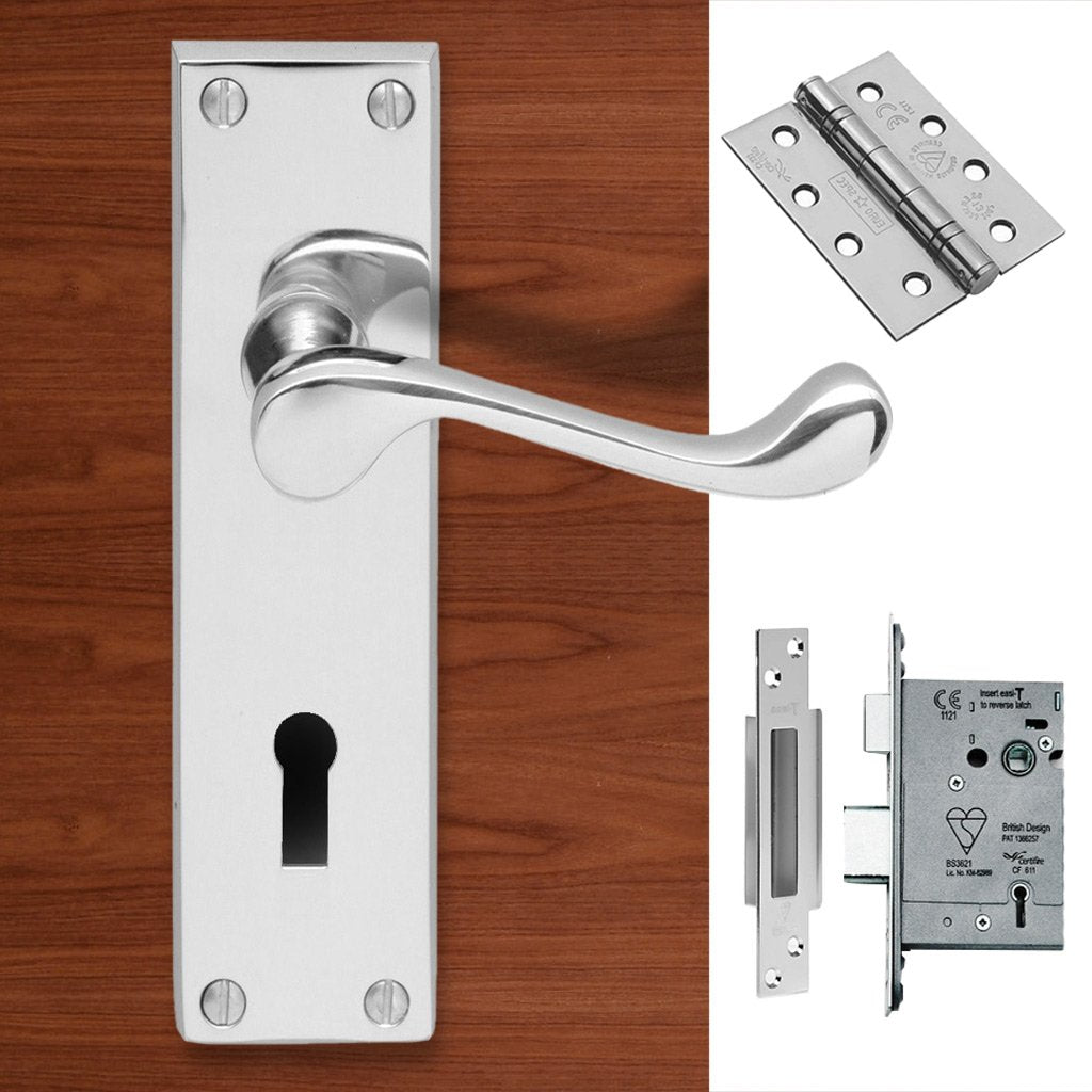 CBS54 Victorian Scroll Suite Lever Lock Polished Chrome Handle Pack