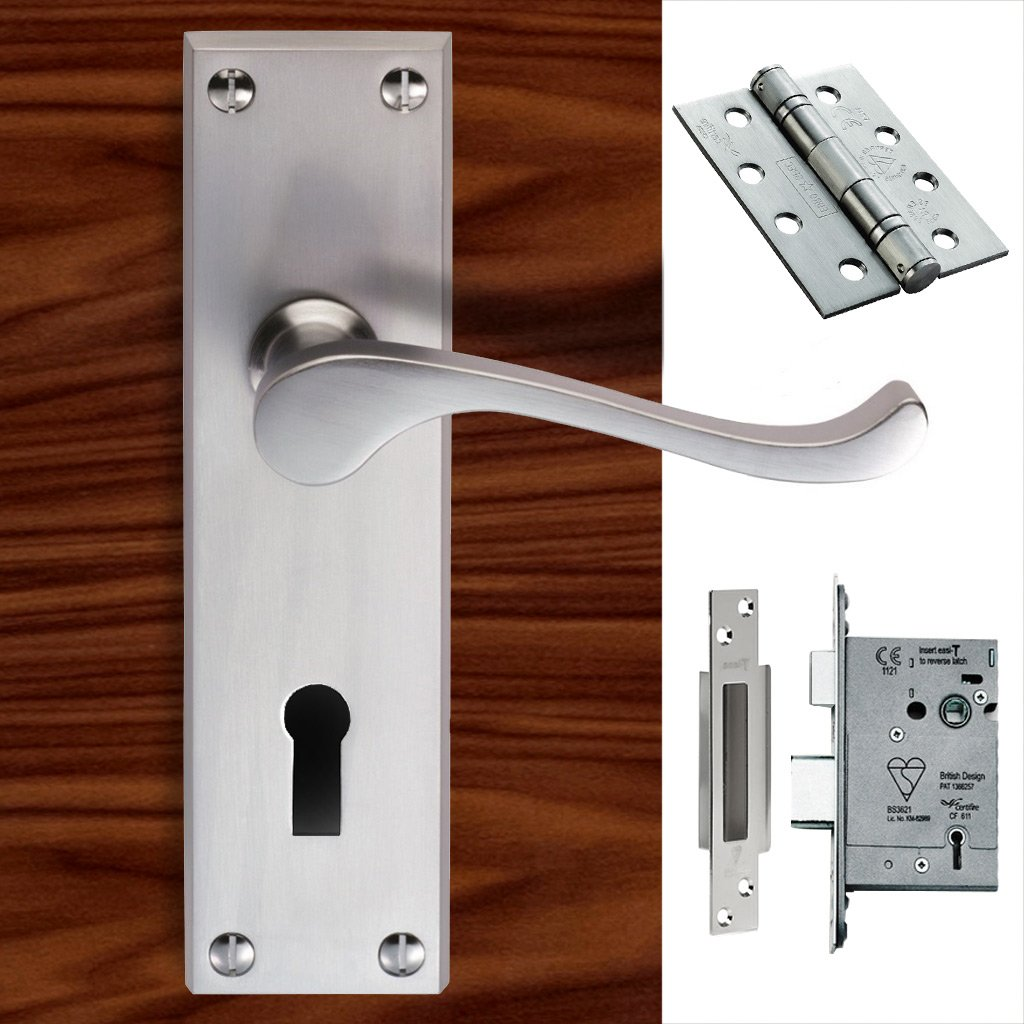 CBS54 Victorian Scroll Suite Lever Lock Satin Chrome Handle Pack
