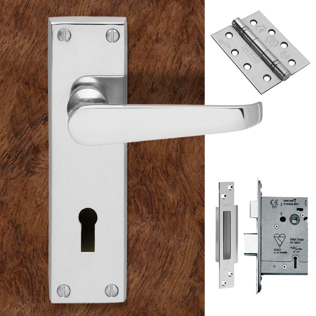 CBV30 Victorian Suite Lever Lock Polished Chrome Handle Pack