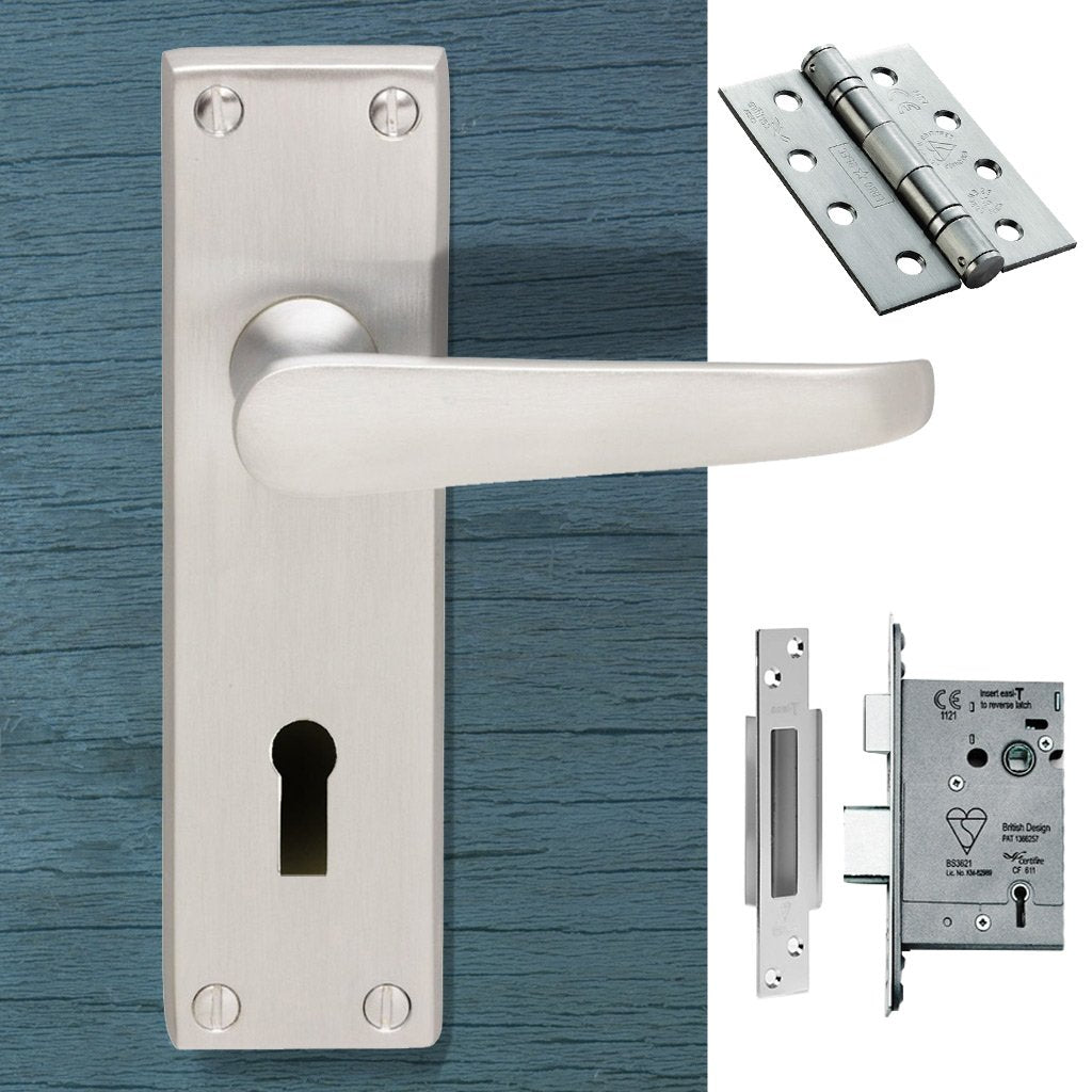 CBV30 Victorian Suite Lever Lock Satin Chrome Handle Pack