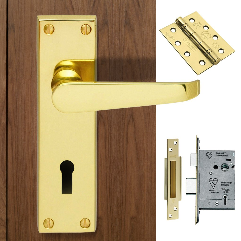 CBV30 Victorian Suite Lever Lock Brass Handle Pack