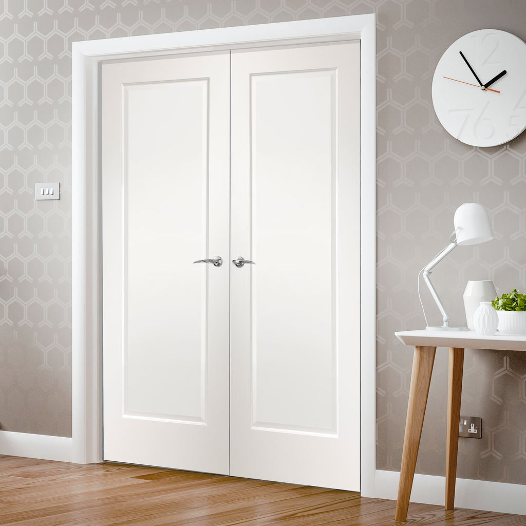 Cesena White 1 Panel Door Pair - Prefinished