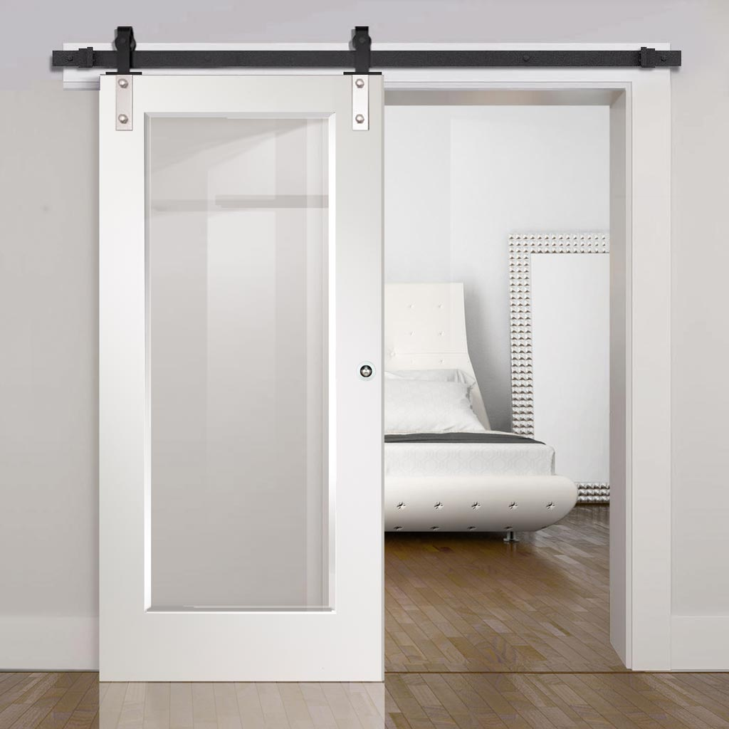 Top Mounted Sliding Track & Door - Cesena White 1 Pane Door - Clear Bevelled Glass - Prefinished