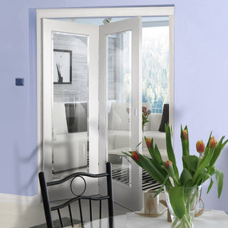 Image: Two Folding Doors & Frame Kit - Cesena White 1 Pane 2+0 - Clear Bevelled Glass - Prefinished