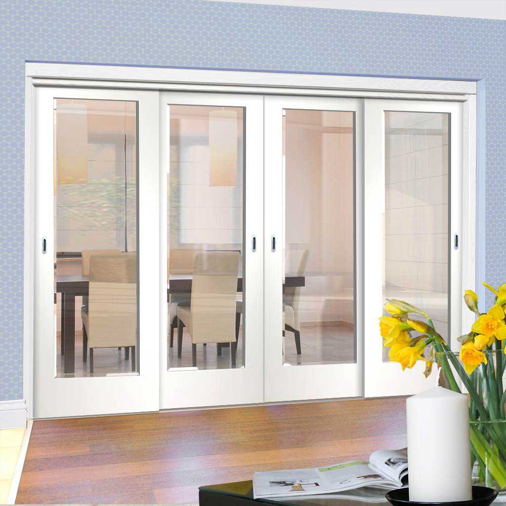Four Sliding Doors and Frame Kit - Cesena White 1L Door - Clear Bevelled Glass - Prefinished