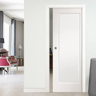 Image: Cesena White 1 Panel Single Evokit Pocket Door - Prefinished