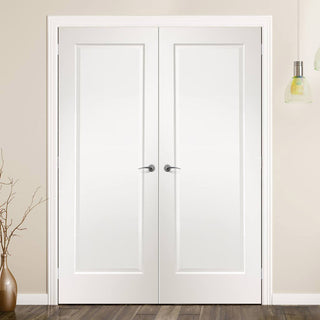 Image: FD30 Fire Pair, Cesena White Panelled Door Pair - 30 Minute Rated - Prefinished