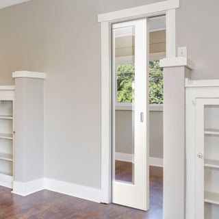 Image: Cesena White 1 Pane Single Evokit Pocket Door - Clear Bevelled Glass - Prefinished