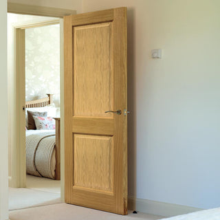 Image: Charnwood Oak 2 Panel Fire Door - 1/2 Hour Fire Rated - Prefinished