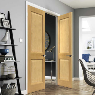 Image: J B Kind Charnwood Oak 2 Panel Door Pair - Prefinished