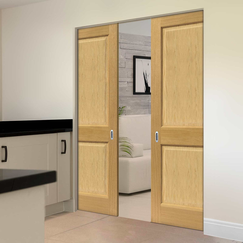 Oak Charnwood Absolute Evokit Double Pocket Doors