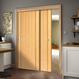 Image: Thruslide Chartwell Flush Oak 2 Sliding Doors and Frame Kit - Prefinished