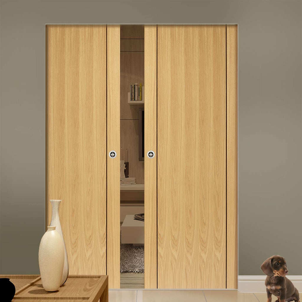 Chartwell Oak Absolute Evokit Double Pocket Doors - Prefinished
