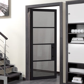 Image: Chelsea 4 Pane Black Primed Door - Tinted Glass