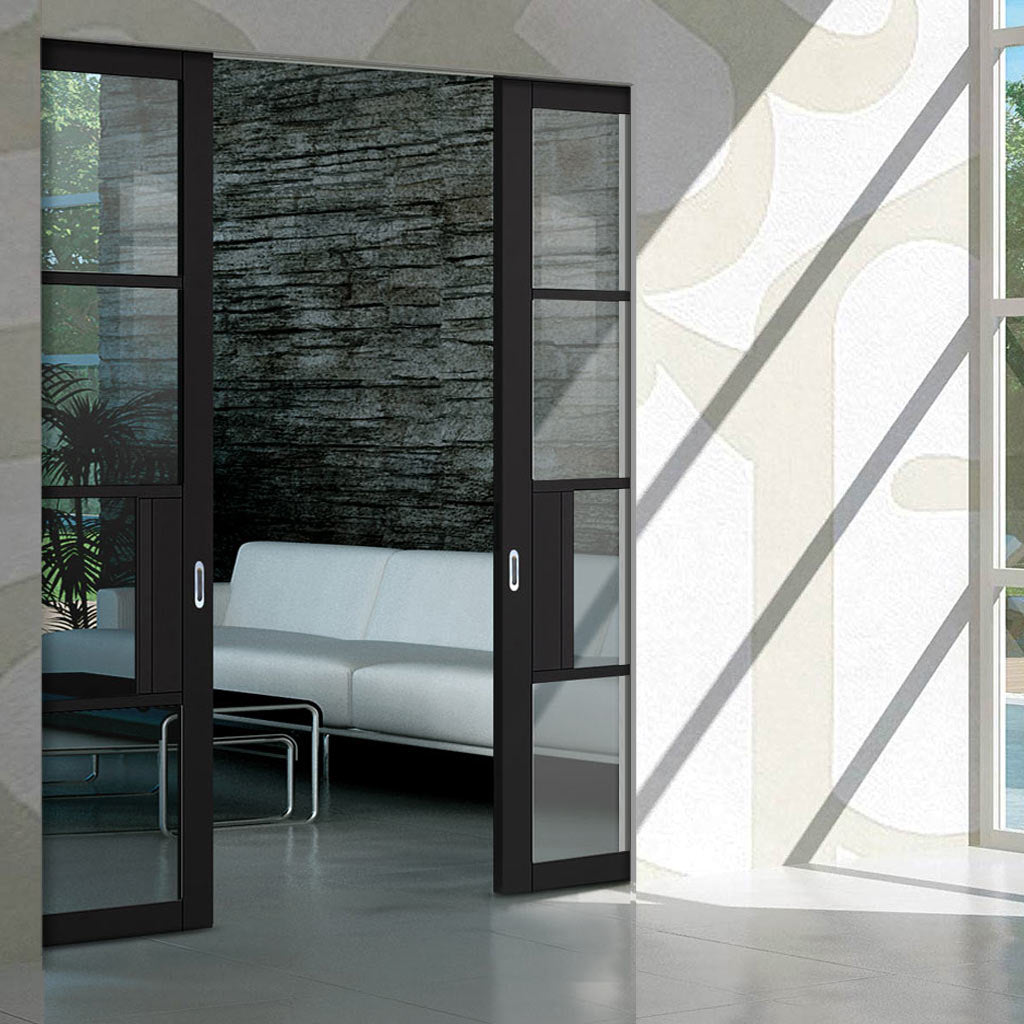 Chelsea 4 Pane Black Primed Absolute Evokit Double Pocket Door - Clear Glass