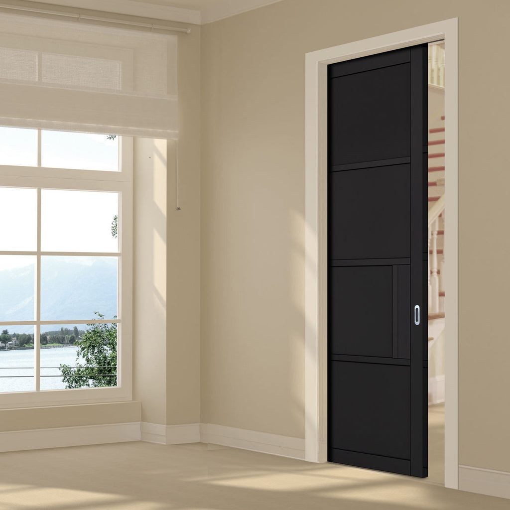 Chelsea 4 Panel Black Primed Single Evokit Pocket Door