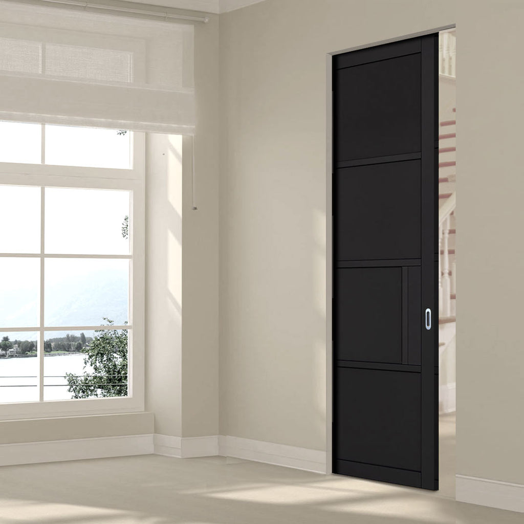 Chelsea 4 Panel Black Primed Absolute Evokit Single Pocket Door