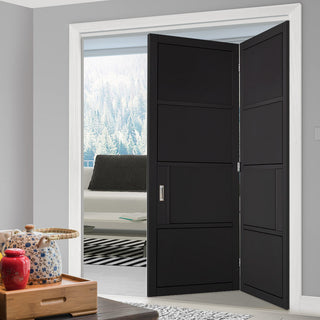 Image: Two Folding Doors & Frame Kit - Chelsea 4 Panel 2+0 - Black Primed