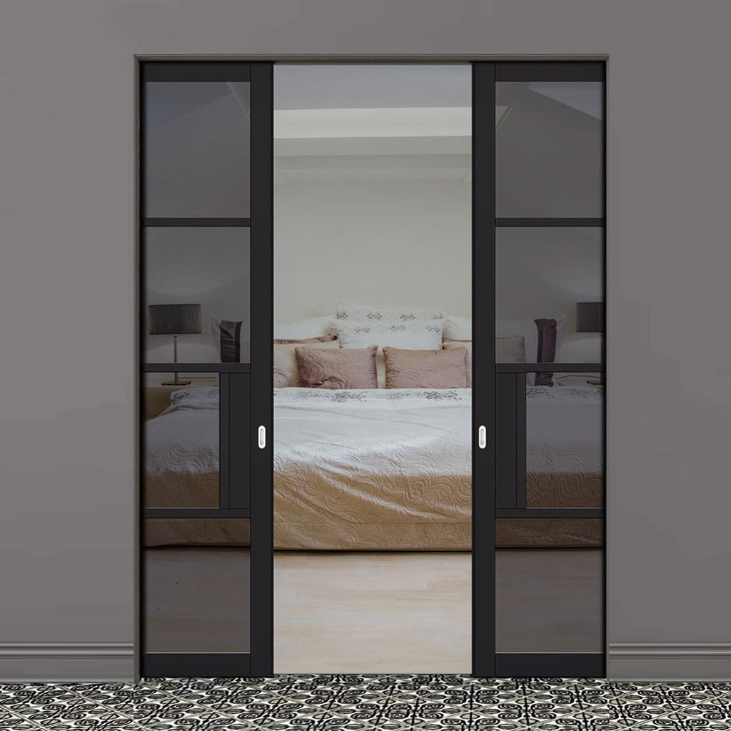 Chelsea 4 Pane Black Primed Absolute Evokit Double Pocket Door - Tinted Glass