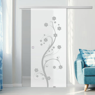 Image: Single Glass Sliding Door - Cherry Blossom 8mm Obscure Glass - Obscure Printed Design with Premium Track