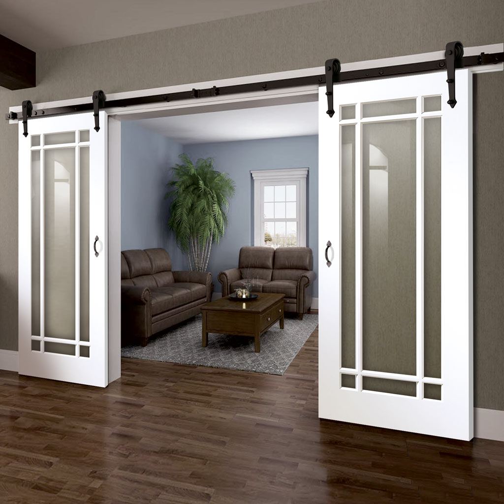 Double Sliding Door & Arrowhead Black Track - Cheshire White Door - Clear Glass - White Primed