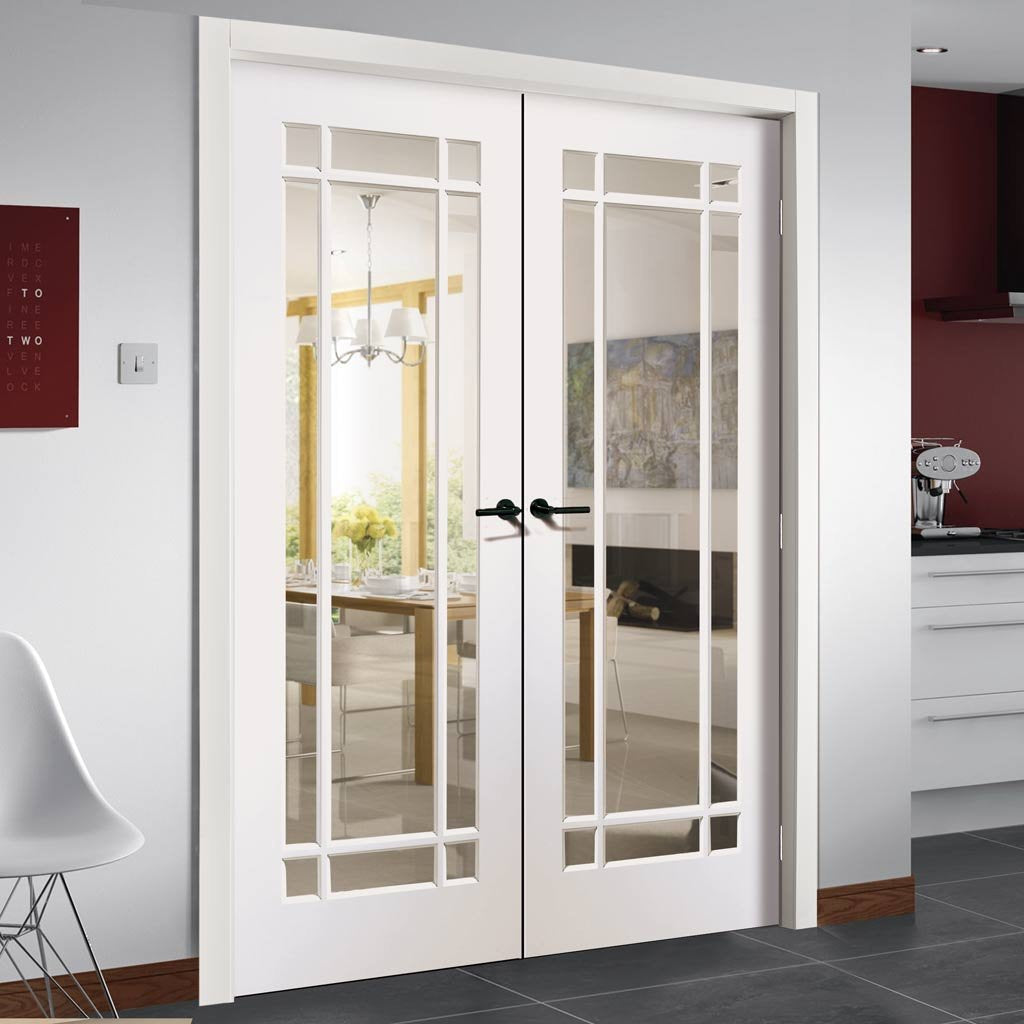Cheshire Door Pair Clear Glass White Primed