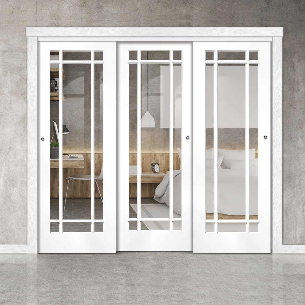 Three Sliding Doors and Frame Kit - Cheshire White Door - Clear Glass - White Primed