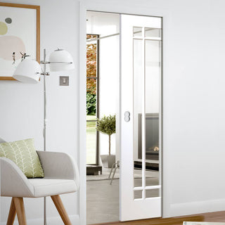 Image: Cheshire White Single Evokit Pocket Door - Clear Glass - Primed