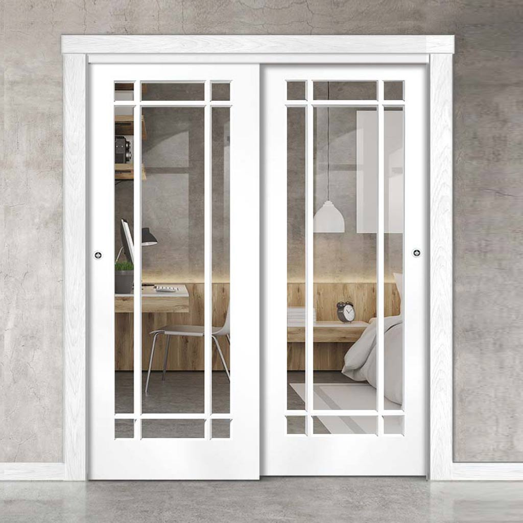 Two Sliding Doors and Frame Kit - Cheshire White Door - Clear Glass - White Primed