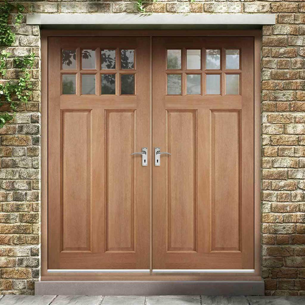 Chigwell Hardwood Double Door and Frame Set - Clear Toughened Double Glazing
