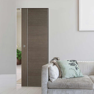 Image: Chocolate Grey Alcaraz Absolute Evokit Single Pocket Doors - Prefinished