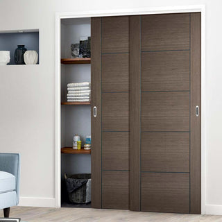 Image: Two Sliding Wardrobe Doors & Frame Kit - Vancouver Flush Chocolate Grey Door - Prefinished