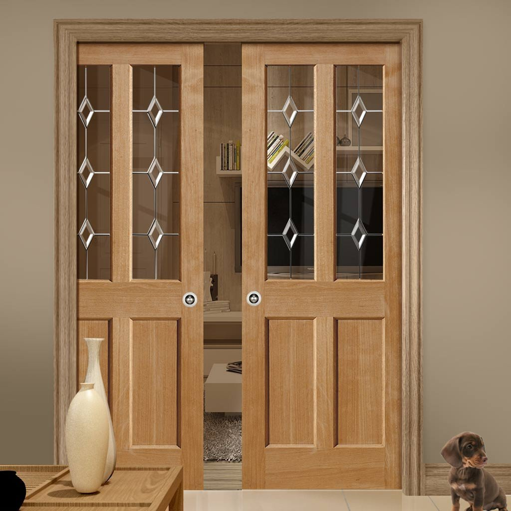 Oak Churnet Oak Double Evokit Pocket Doors - Leaded clear glass