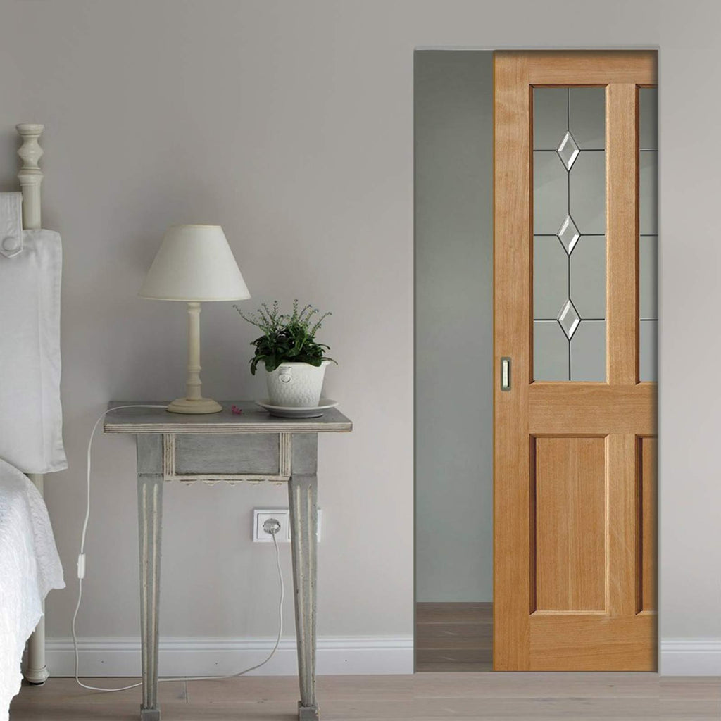 Oak Churnet Oak Absolute Evokit Pocket Door - Leaded clear glass