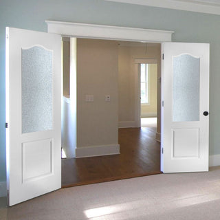 Image: Classic Grained Pvc Door Pair, Toughened Safety Glass