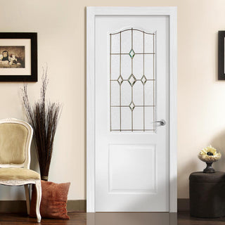 Image: White PVC classic door with grained faces galaxy style toughened glass