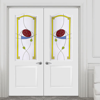 Image: Classic Grained PVC Door Pair - Rennie MacIntosh Style Colour Glass